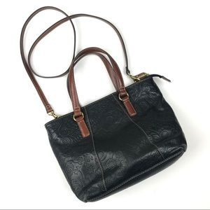 Fossil Black Embossed Leather Crossbody Purse